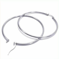 Wholesale Fashion CM Stainless Titanium Steel Silver Simple Slippy Circle Women Hoop Earring
