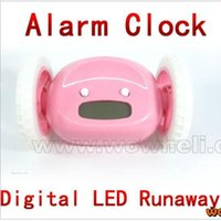 Wholesale four colors LCD DISPLAY Clocky NEW Digital LED Runaway Alarm Clock With Wheels children s gift Alarm clock