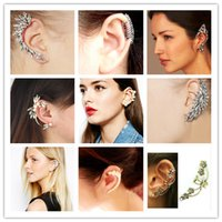Wholesale Low sales punk Ear Cuff flower pearl crystal earring ear clip Different Styles Earring Golden Silver clip on earrings