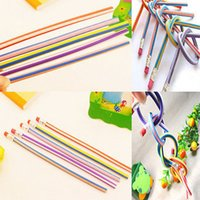 Wholesale 5Pcs Per Bendy Soft Pencil With Eraser For Kids Writing Colorful Magic Flexible Gift