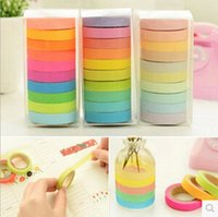 Wholesale Washi Tape Masking Paper Tape Rainbow Candy Solid Color Pulled Writing Paper Tape Fine Packing BOX MOQ5BOXS