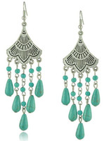 bead earring whole sale - Antique Tibetan Silver Earrings for women Long Turquoise beads tassel Earings Fan shaped Long drop earrings whole sale E0123