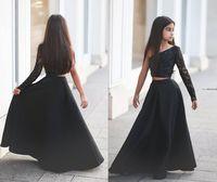 achat en gros de robes de soirée de filles de pagent-Arabci style noir noir dentelle filles Robes Pagenant Robes à manches longues une épaule satin Glitz célébrité plus tard Formal Pagent robes