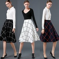 Wholesale 2016 New Spring Women retro Plaid Knee Length Skirts British Style High Waist Women A line Pleated Skirt White Black Deep Blue