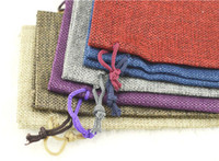 antistatic packaging bag - 17 mixColor linen bags drawstring bag jewellry pouch sack bag jute gift package high quality burlap