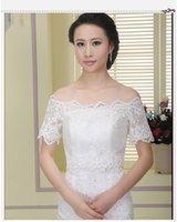 Cheap Jackets/Wraps lace jecket Best Short Sleeve Ruffle Wedding jecket