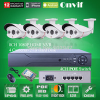 Wholesale Onvif H POE P IP Camera MP fps IR Outdoor Bullet Network CCTV Camera POE Switcher CH NVR Security System TB HDD