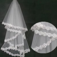 Wholesale 2015 Vintage White Ivory Short Tulle Wedding Bridal Veil Elbow Length Two Layer Lace Appliques Cheap New