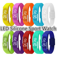 orange red led - Newest Sports rectangle led Digital Display touch screen watches Rubber belt silicone bracelets Wrist watches DHL Free
