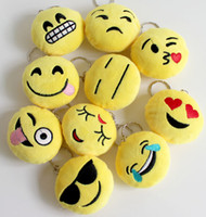 Wholesale 2016 New plush pendant Key Chains Emoji Smiley Small pendant Emotion Yellow QQ Expression Stuffed Plush doll toy for Mobile bag pendant