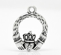 antique claddagh rings - Fashion Jewelry Charms Antique Silver Tone Rhinestone Claddagh Ring Charm Pendants x18mm Jewelry Findings