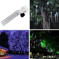 led meteor rain light - Hot Sales CM Length US EU Model Meteor Shower LED Lighting Lamp Strips Home Decor Rain Drop Decorative Christmas Tree CX377