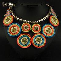Mode Bijoux Mode Femmes Inde Bijoux Vintage Multicolor Résine Peinture En Céramique Perles Colliers Chokers Statement # 3365