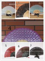 Wholesale Lace Fans Folding Fan Lace Fans Fashion Womens High grain Bamboo and Printing Folding Fan Hot Womens Lace and Double Encryption Hand Fan