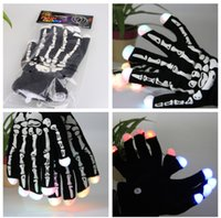 Wholesale 2016 fashion adult knitted cotton changing flashing Led glove for KTV Party Finger Flashing Glow Bone Fingertip Light LED Gloves