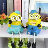 Wholesale New Despicable Me Small yellow man wearing a hat hanging feet lovers doll resin ornaments Figure Doll Toy H