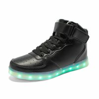 velcro - LED Luminous Women Men high top Sneakers LED Shoes For Adults USB Charging flash Lights Shoes Black White Shoes E382