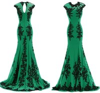 Cheap Elie Saab Green Mermaid Evening Dresses Wear for Women Lace Applique Prom Party Formal Dresses