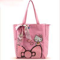 Wholesale With Soft Ribbon Cartoon Hello Kitty Canvas Bowknot Women Bag Lady Cartoon Shoulder Handbag Colors