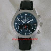 Montre chaude et décontractée chronographe à quartz IW377701 pilotes en acier argenté étui bracelet en cuir mode montres pour hommes