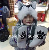 animal hat with paws - 50pcs Wolf Hat With Paws Fashion Cartoon Animal shape Hat Plush Wolf Hood Winter with pockets Festival Hat Gray