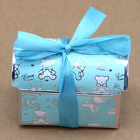 Wholesale 2015 New Arrival Wedding Favor Candy Box Pink And Blue Candy Bag Wedding Gift Favor Holders Bow Ribbon Trim Favor Holders