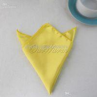 Wholesale 100pieces Yellow quot Square Satin Dinner Napkins or Handkerchiefs Wedding Party Color Hot Sale Favor NPK