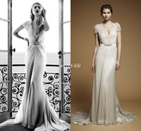 aspen silver - Jenny Packham Aspen Sheath Chiffon Wedding Dresses with Cap Sleeve Deep V Neck Beaded Band Floor Length Sheer Back Vintage Bridal Gowns