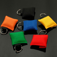 Wholesale 120pcs New CPR Mask Keychain Bag Emergency Face Shield Red Yellow Blue Green Orange BL