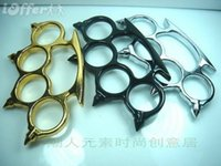 Wholesale 1pcs GILDED THICK STEEL BRASS KNUCKLE DUSTER