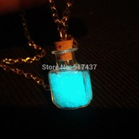aqua fairy - Steampunk bottle necklace Magic Fire Fairy Angel dust pendant charm Glow in the dark bottle vial Aqua