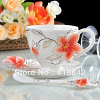 apple dish - Gilted Five Stars apple Flower Coffee Set Cup Saucer Spoon Plate Disk Dish