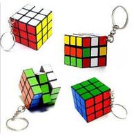Wholesale DHL chrismas gift wholesle Factory directly sales Keychain Rubik s cube x3x3cm Puzzle Magic Game Toy Key Keychain