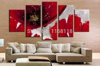 Wholesale 5 panel wall decor modern art set Abstract Beautiful big red rose Flower hand painted Oil palette Painting on Canvas