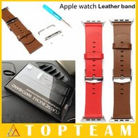 adapter installation - For iwatch mm mm Genuine Leather Watch Band Wrist Strap Bracelet Apple Watch Adapter Connectors With Installation Tools Free DHL