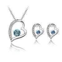 Haute Qualité Elégant Argent 925 Plaqué Crystal Love Sweet Heart Pendentifs Colliers / Boucles d'oreilles nuptiales Parures Pour les filles de femmes