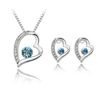 Wholesale High Quality Elegant Silver Plated Crystal love Sweet Heart Pendants Necklaces Stud Earrings Bridal Wedding Jewelry Sets For Women girls