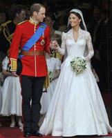 Wholesale Luxury Princess Kate Wedding Dress Cap Full Sleeve V Neck Cathedral Train Bridel Dresses
