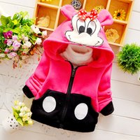 Wholesale 2015 Girls clothing hooded Coats Outwear thicken cotton long sleeve Mickey kid clothes children wear Winter
