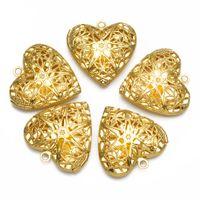 filigree jewelry findings - mm Gold Brass Heart Locket Necklace Charms Photo Locket Pendants Jewelry Findings Hollow Filigree Silver Locket Necklace PC