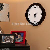 battery digital wall clock - 1 Piece Pixel Art Time Clock Retro Pixel Wall Clock Battery Operated tracking