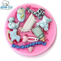 bathtub moulding - Baby Deer Feeding Bottle Duck Bear Bathtub Heat ShapeSilicone Cake Mold Fondant Soap Mould Cake Tools Q044