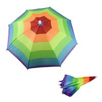 best golf umbrellas - Hot Salw Best seller Umbrella Hat Cap Multicolor Rainbow Brock Hands Free Head Strap Golf Sun Rain May