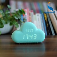 Wholesale Cute Cloud type digital led display desk wall Snooze clock USB DC V electronic gift with DB clap voice activated for home