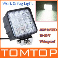 Wholesale 16 LED W Led Car Work Light Car Lamp Fog light Bulb Aluminium alloy Waterproof IP67 K For Jeep SUV ATV Off road Truck