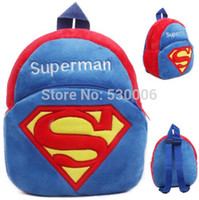 Wholesale Blue Cool Cartoon Superman Baby Kids Soft Plush Backpack for Boys Children School Bags Backpacks mochila infantil escolar