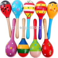 Wholesale Hot Wooden Maracas Wood Rattles Party Favor Child Baby Shaker Toy Kid Musical Instrument CM