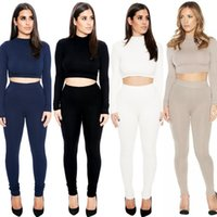 Wholesale Two Piece Spot Set New Lady Turtleneck Top Bandage Trouser Suit Sexy Nightclub Party Suite Women Two Piece Pants And Top