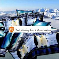 Cheap Penguin snow mountain 3d oil bedding set lovers bedclothes Full queen size Quilt duvet comforter cover bedspread linens sets