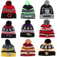 49ers - Mixed batch American Football Beanies Fashion Seahawks Raiders Patriots Ravens Redskins Steelers Saints ers Winter Knitted Hat Gorros Cap
